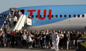 Passengers from Germany, who were frontline workers during the coronavirus outbreak, arrive on a TUI Airways flight at Kos International Airport on the island of Kos, Greece, on 29 June, 2020.