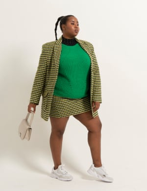 model wears top, £24, by Apricot, and jumper, £20, both from simplybe.co.uk. Blazer, £60, and skirt, £30, both by Asos Curve, from asos.com. Bag, £125, cosstores.com. Trainers, £84.95, adidas.co.uk.