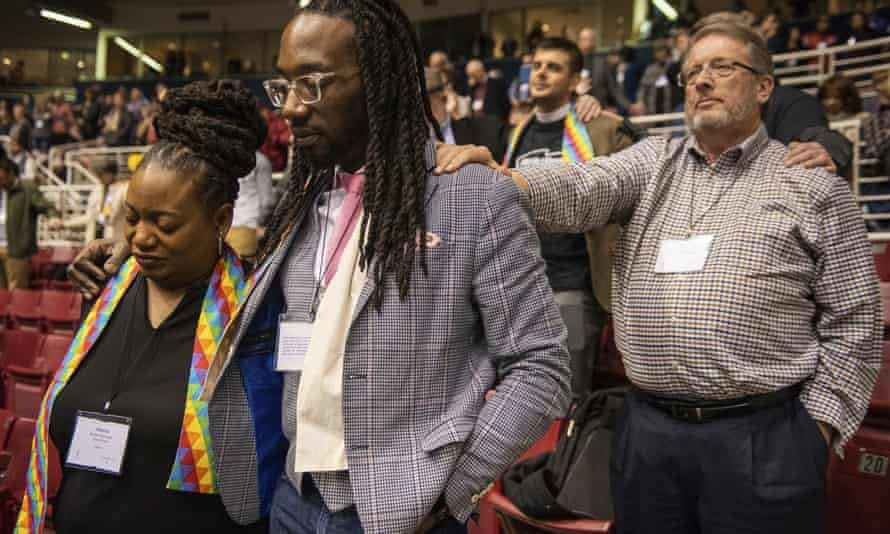 Members of the United Methodist Church in St Louis, Missouri, reacting to the defeat to ease the faith's ban on same-sex marriage and LGBT clergy.