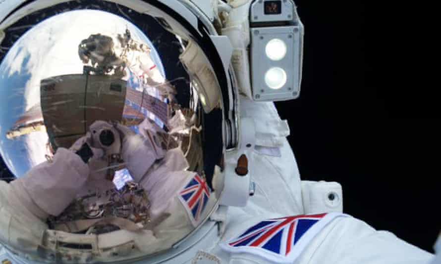 A selfie taken by British astronaut Tim Peake during his spacewalk on Friday. <br>