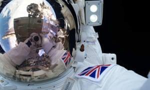 Tim Peake takes a selfie in space.