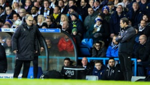 Marcelo Bielsa and Frank Lampard watch on during the second half.