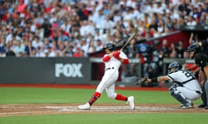 Mookie Betts strikes out in the London series between the Red Sox and the New York Yankees, June 2019.