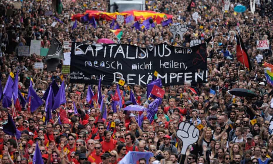 Demonstrators at the G20 summit in Hamburg.