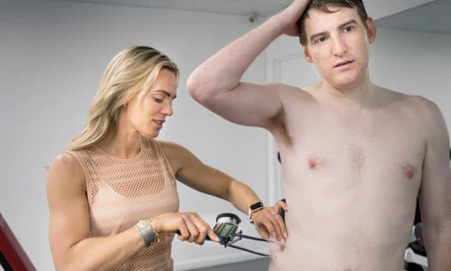 Pinch an inch (or more): Sarah Lindsay gives Seamas a skin fold test at the start of his session.