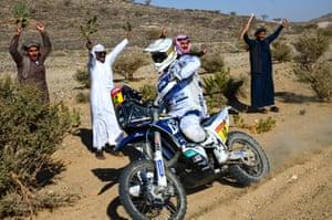 Stage 1 Jeddah to Bisha HT Rally Raid Husqvarna Racing's Xavier de Soultrait is cheered on by spectators
