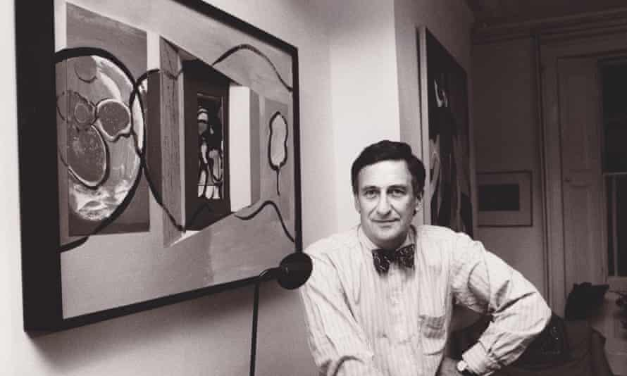 Michael Peckham in 1992 at his London home sitting by his collage Natural Connections.