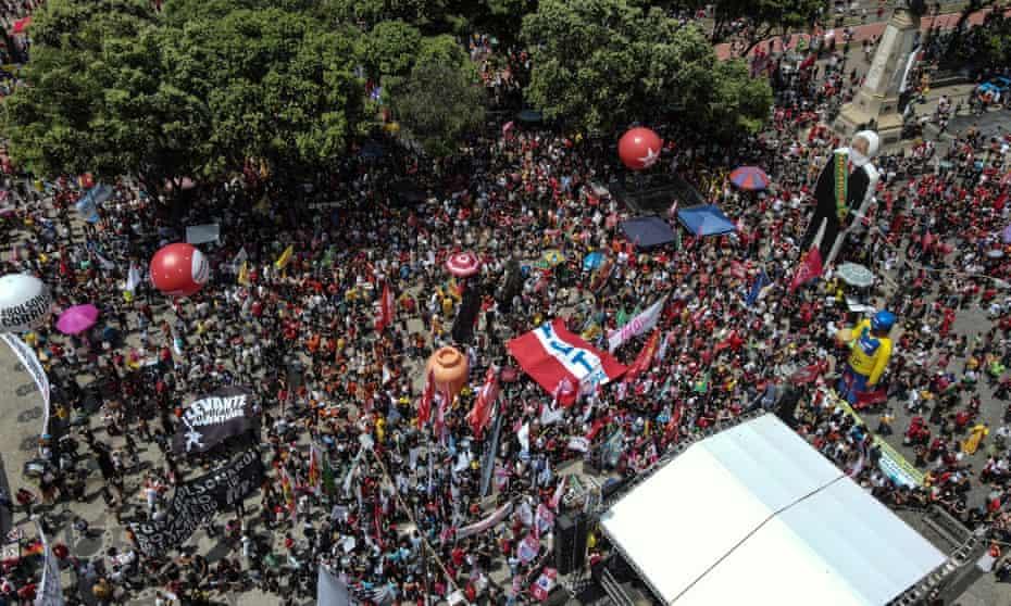 A protest against Jair Bolsonaro in Rio de Janeiro on Saturday.