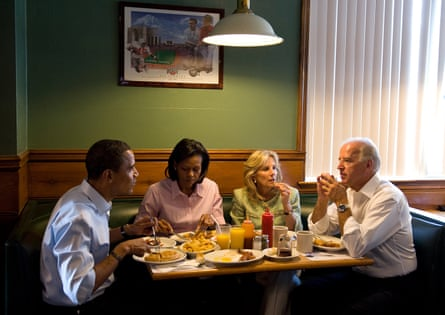 Barack and Michelle Obama have breakfast with Joe and Jill Biden, on their second day of campaigning together, in Ohio, August 2008