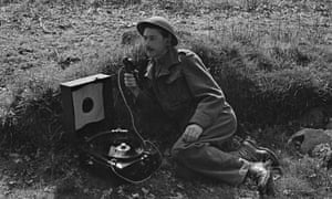 Australian BBC war correspondent Colin Wills at work in early 1944.