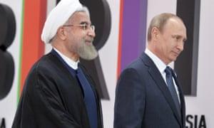 Hassan Rouhani with Vladimir Putin