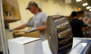 Amazon logo on a roll of tape at the company's distribution center in Phoenix, Arizona.