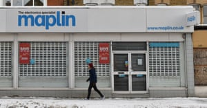 A closed Maplin electronics store in Wescliff, England, today.