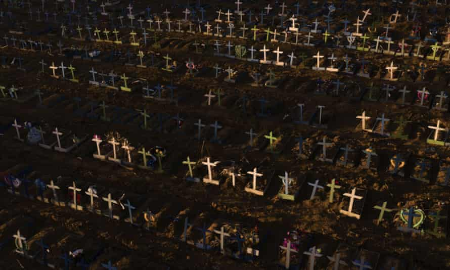 The graves of those who have died since early April, at a cemetery in Manaus, Brazil