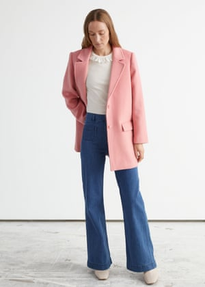 Boxy blazer, £82, flared jeans, £65, ruffled-collar top, £27, and boots, £120, stories.com