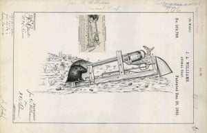 USA, 1882 Animal trap device designed by J.A. Williams to kill vermin. Food bait is placed onto a spring-loaded lever. When the animal presses onto the bait, it fires the loaded pistol