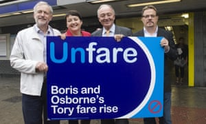 Corbyn, Labour MP Val Shawcross, Ken Livingstone and comedian Eddie Izzard protesting rail fare increases in 2011