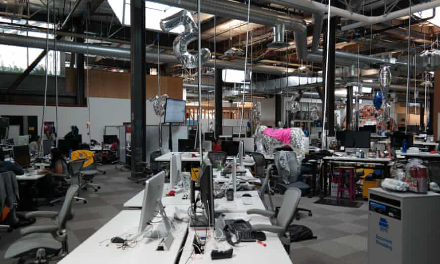 Techie jungle … lianas of cables and stuffed leopards adorn the Facebook HQ.