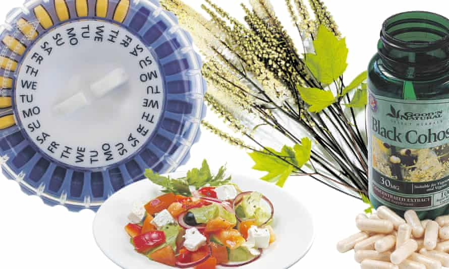 HRT, a Mediterranean salad and a black cohosh plant and tablets