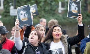 Michael Jackson fans protest outside Channel 4, which aired the Leaving Neverland documentary, in London.