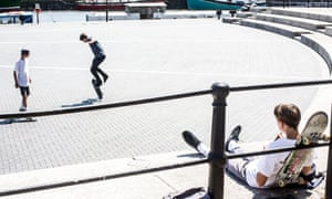 """Admittedly, skateboarding is a loud activity, but cities are loud places"" ... teenagers skateboarding on Bristol's waterfront."