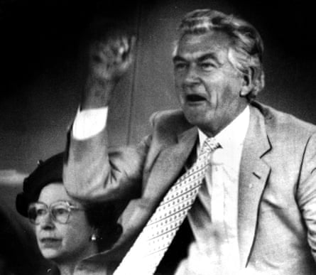 Bob Hawke as prime minister at the races, playing host to the Queen at the Queen Elizabeth Stakes, Sydney, 1988.