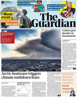 Guardian front page, Wednesday, February 28, 2018