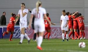 Deflated England players as Canada celebrate scoring.