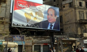 An election campaign poster in Cairo erected by supporters of the Egyptian president, Abdel Fatahh al-Sisi.