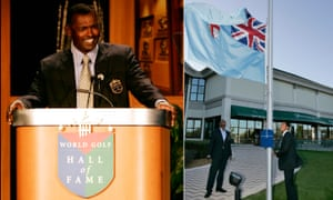 Vijay Singh during his induction ceremony at the World Golf Hall of Fame and he watches as his son raises his country's flag during the same event in St Augustine, Florida in 2006.