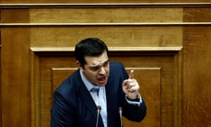 The Greek prime minister, Alexis Tsipras, delivers his speech during a parliamentary session