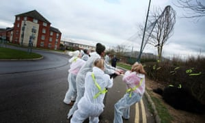 Campaigners remove netting that would stop birds from nesting in hedges and trees in Darlington.