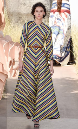 A model in full length stripes at Dior.