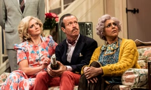 Debra Gillett, Jonathan Cullen and Meera Syal in Noises Off by Michael Frayn at the Lyric Hammersmith.