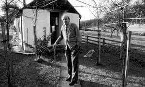 Dahl outside the shed where he wrote.