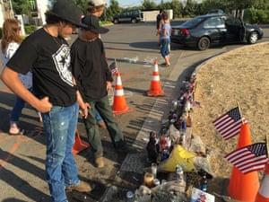 Brandon Lindlahr, left, and Keenan Passmore at a memorial for Dylan Noble.