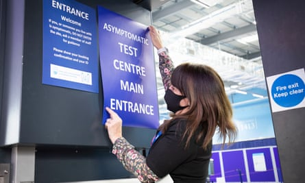 A mass testing centre is set up at the sports complex at St Andrews University.