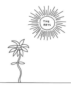 'The arts' sun shining on a sunflower