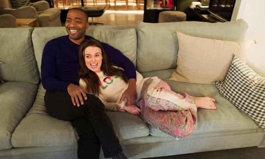 'Not that guy with the signs again!' Chiwetel Ejiofor and Keira Knightley.