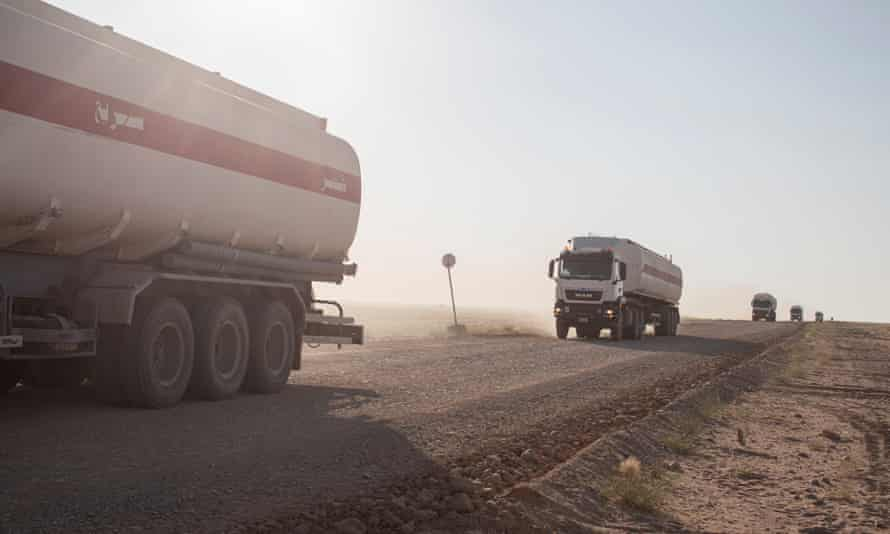 A convoy of fuel tankers on the road from Marib refinery. Yemen relies on aid and imports for 90% of its food and fuel.