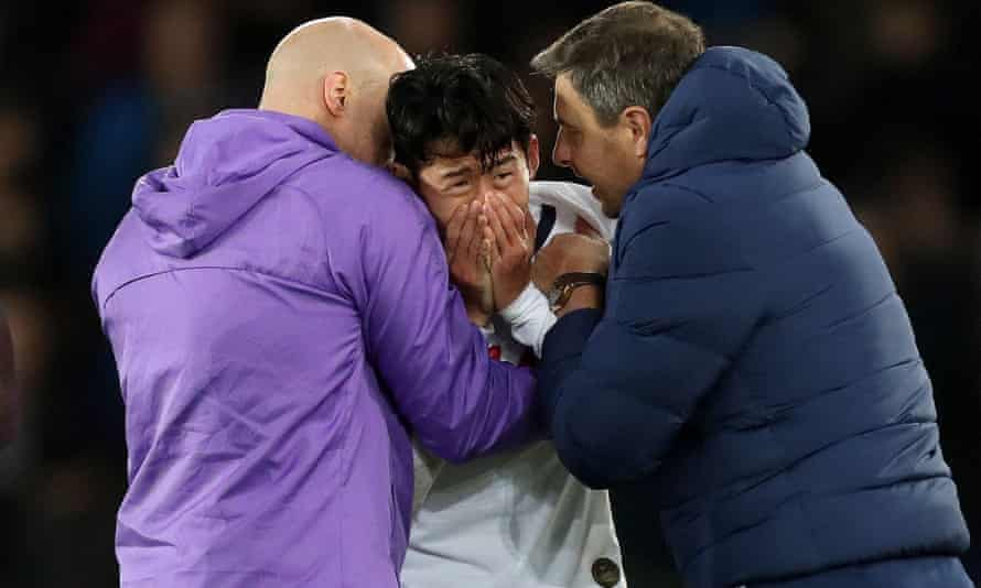 Tottenham's Son Heung-min was in tears after the injury to André Gomes
