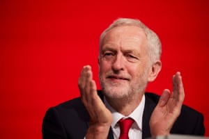 Labour leader Jeremy Corbyn applauds at the opening session