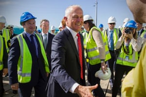 Malcolm Turnbull meets shipbuilders at an ASC facility after naming France as the winner of the $50bn submarine build to take place in South Australia.