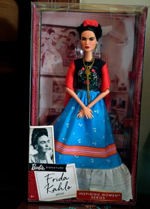 A Barbie doll depicting Frida Kahlo on show at her sister's house in Mexico City in April 2018
