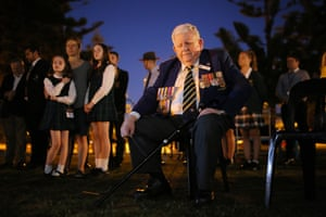 A veteran attends the dawn service at Coogee Beach in Sydney