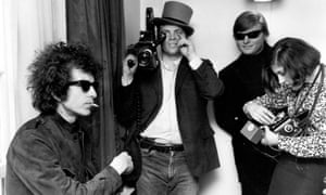 DA Pennebaker (in the hat) with Bob Dylan, left, filming Don't Look Back, 1965.