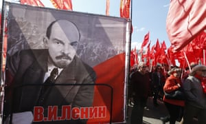 Lenin banners at a Moscow march for International Workers' Day last May.