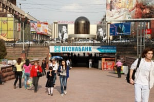 Pedestrians on Arbat shopping street in Almaty.