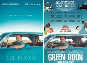 Award worthy … the original Green Book posters= (left) and the repurposed version.