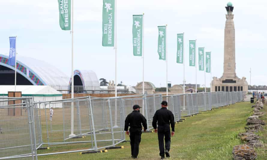 Security fencing on Southsea Common in Portsmouth
